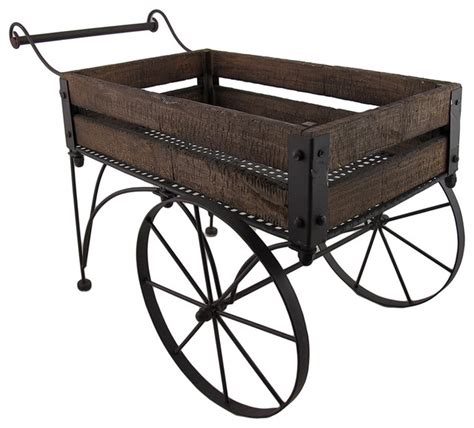 Wooden Cart Planter by Zeckos Rustic Wood And Metal Indoor Outdoor 2 Wheeled