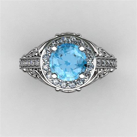 Italienische Trauringe by Italian 14k White Gold 1 0 Ct Blue Topaz