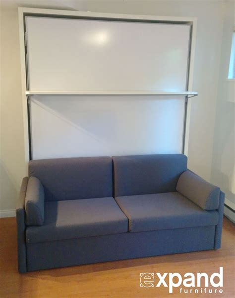 couch wall compatto murphy bed over sofa with floating shelf