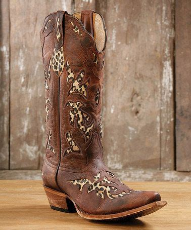 this brown & leopard inlay leather t toe cowboy boot