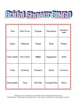 Bingo Cards For Wedding Showers