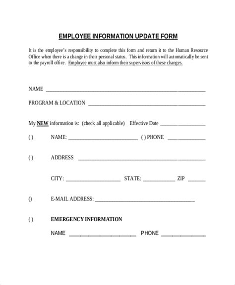 Update Contact Information Form Template by Sle Employee Information Form 10 Free Documents In