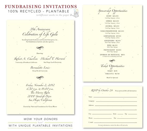 Gala Invitation Card Template by Unique Gala Invitations Fundraising Plantable