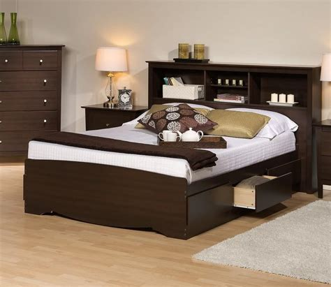 prepac platform storage bed w bookcase headboard by oj