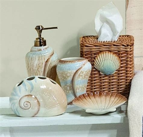 beach inspired bathroom accessories seashell bathroom decorating ideas