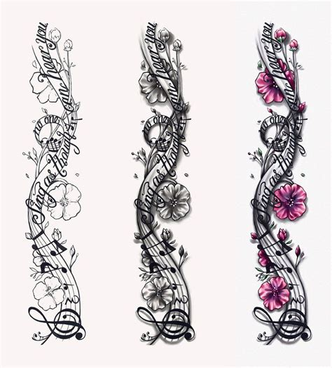 rose music note tattoo notes designs musical notes design by