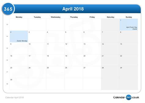 Easter 2018 Calendar Calendar April 2018
