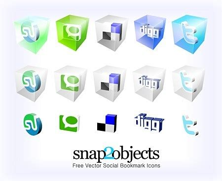vector social bookmark icons snapobjects
