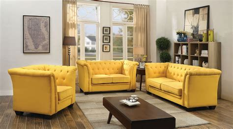 Tufted Living Room Furniture G322 Tufted Living Room Set Yellow Living Room Sets Living Room Furniture Living Room