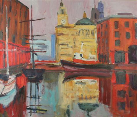 knutsford auction rooms paul bassingthwaite b 1963 liverpool dock i on board signed verso 56x65cm inset in
