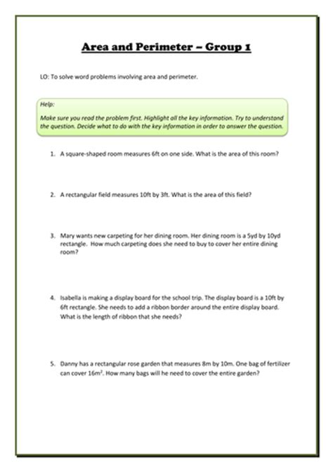 free printable area and perimeter word problems area and perimeter differentiated word problems by
