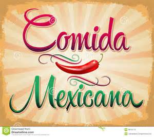 comida mexicana mexican food spanish text royalty free