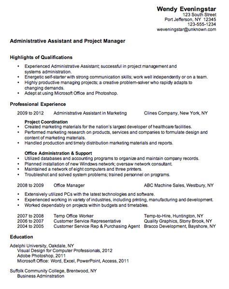 Chronological Resume Sle Administrative Assistant combination resume sle administrative assistant growth knowledge sle resume
