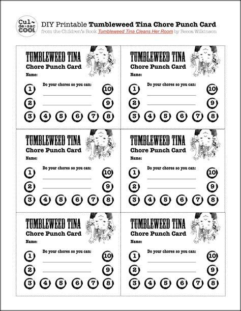 diy printable tumbleweed tina chore punch card