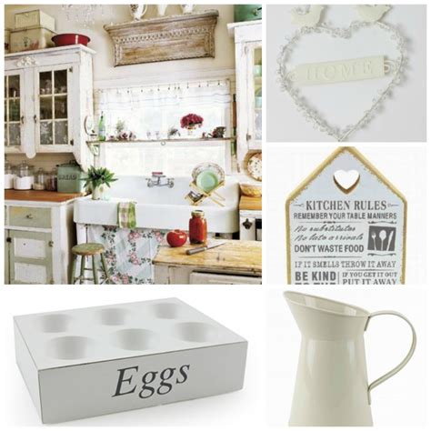 shabby chic kitchen accessories in a country cottage