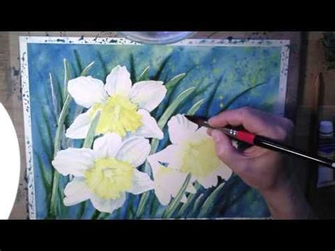 watercolor daffodil tutorial daffodils in watercolor painting process youtube art