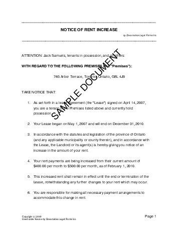 Sle Letter Refusing Rent Increase Notice Of Rent Increase Canada Templates Agreements Contracts And Forms