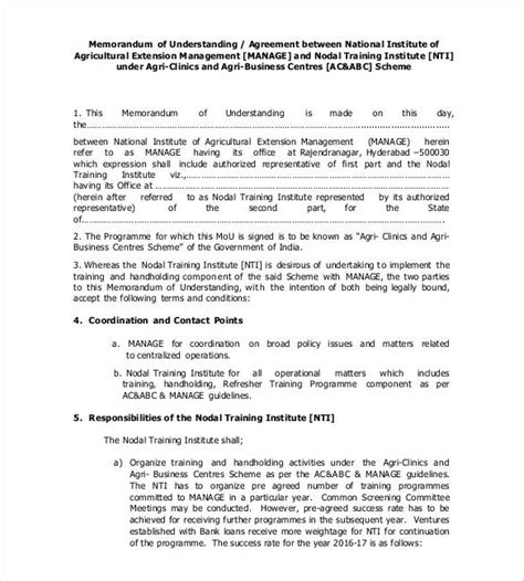 memorandum of understanding business partnership template memorandum of understanding template 35 free sle