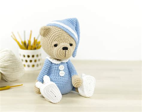 etsy teddy pattern pattern sleepy teddy bear in pajamas and bunny slippers 4