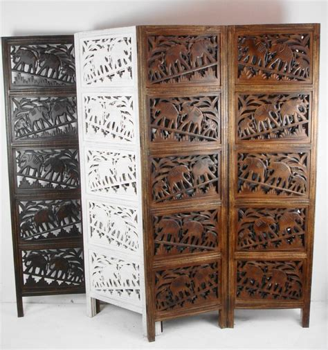 diy screen print india 4 panel carved indian screen wooden elephant screen