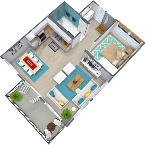 planner 3d 1 bedroom apartment floor plan roomsketcher