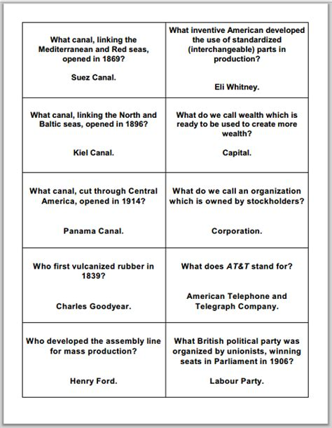 Industrial Revolution Worksheets by There Are Three Sheets Of Cards 30 Cards Total For