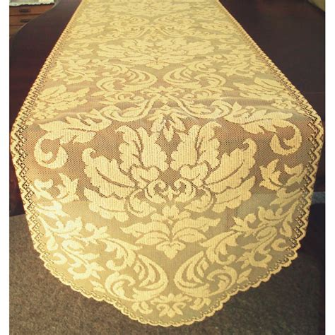 gold lace table runner table runner heritage damask 14x64 colonial gold heritage