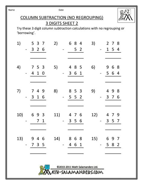 Grade Math Printable Worksheets by Subtraction Worksheets No Regrouping New