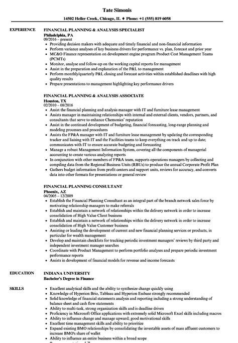 planning skills resume financial planning resume sles velvet
