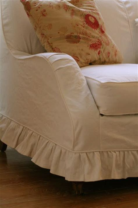 Ruffled Sofa Slipcover by Custom Slipcovers By Shelley White Denim Loveseat With