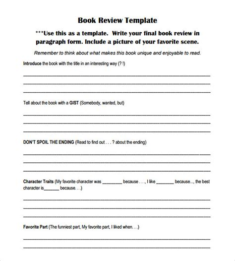 review template book review template 7 documents in pdf word