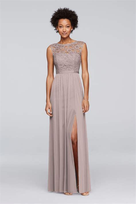 wedding accessories bridal accessories david s bridal david s bridal long bridesmaid dress with lace bodice