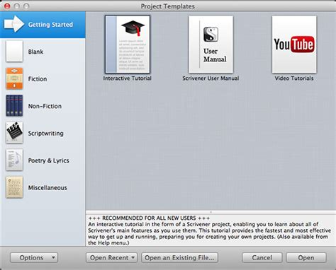 scrivener project templates getting started with scrivener