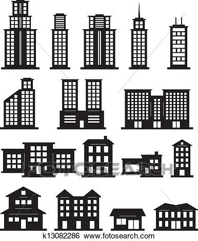 clip art of building black and white k13082286 search
