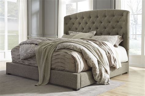california king upholstered bed gerlane graphite cal king upholstered panel bed b657 78 95 ashley