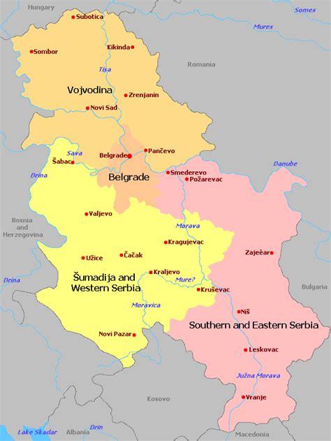 serbien regionen karte