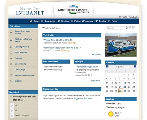 Healthcare Intranet Exle Northfield Hospital Clinics Intranet Page Template