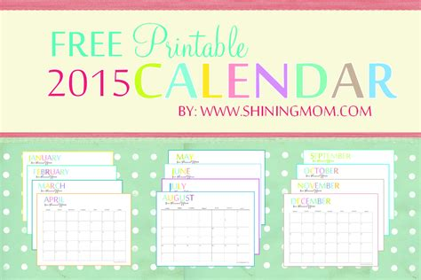 Free Printable Calendars 2015 2015 Free Printable Calendars Crafting In The