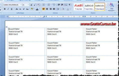 Etiketten Drucken In Word 2007 by Gratis Cursus Word 2007 Etiketten