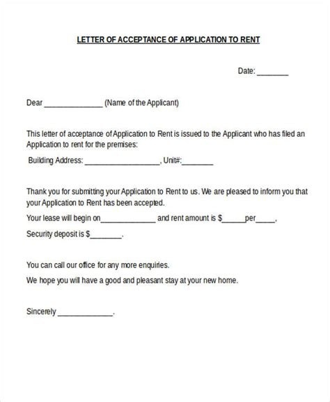 Rent Increase Acceptance Letter Agreement Letter Formats
