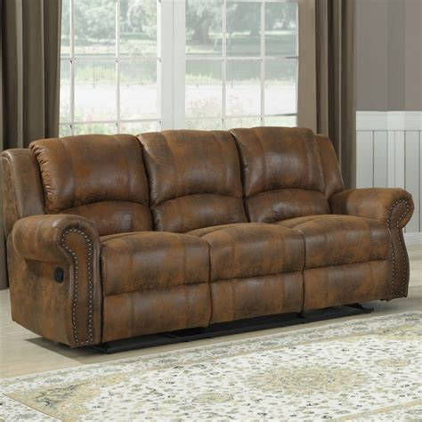 reclining microfiber sofa homelegance quinn double reclining sofa in brown