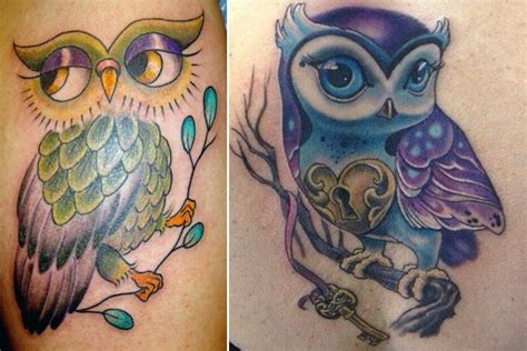 wise owl tattoo designs colorful owl design