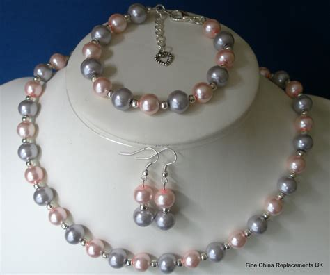 Handmade Costume Jewellery Uk - two tone glass faux pearl necklace earrings and charm