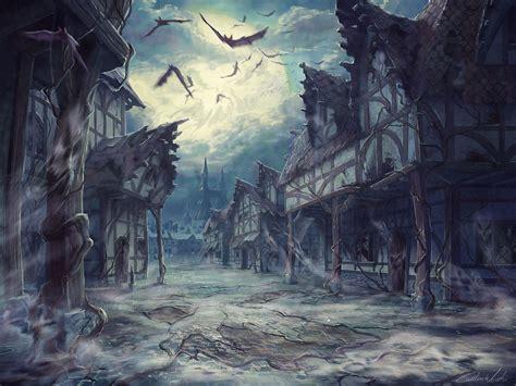 moon house street clouds night moon house halloween horror dark bats wallpaper at dark wallpapers