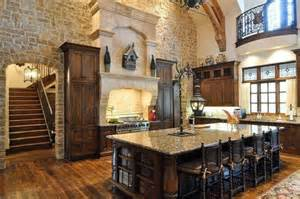 awesome Kitchen Design With Island Layout #1: Mediterranean-Rustic-Tuscan-Kitchen-with-Stone-Wall.jpg