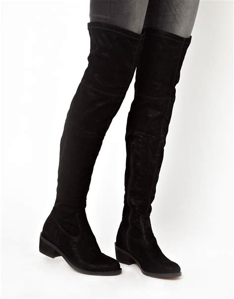 aldo sturmys flat the knee boots in black lyst