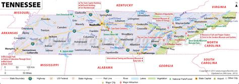 map of tennessee cities tennessee map showing the major travel attractions including cities points of interest and