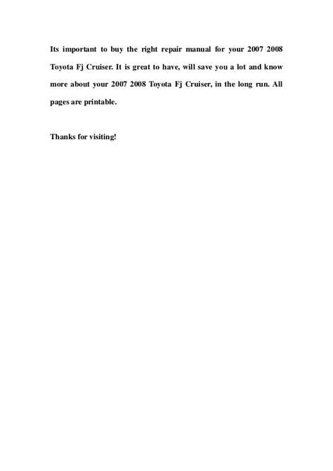 manual repair free 2008 toyota fj cruiser parking system 2007 2008 toyota fj cruiser service repair manual download