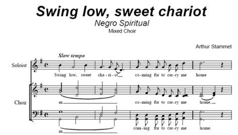 swing low sweet chariot negro spiritual stammet arthur sheet music to download