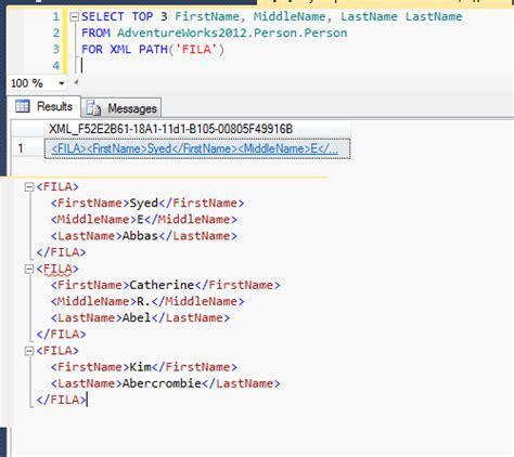layout xml path concatenar usando for xml path y stuff sql server